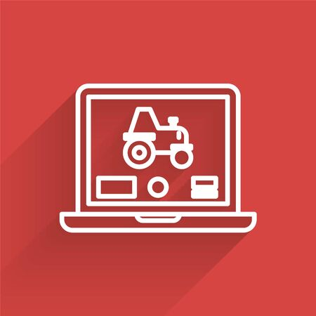 White line Laptop application for control a autonomous tractor on a smart farm icon isolated with long shadow. Smart agriculture implement. Vector Illustration