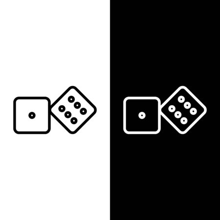 Set line Game dice icon isolated on black and white background. Casino gambling. Vector Illustration