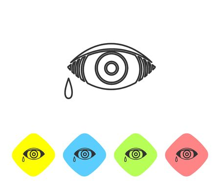 Grey line Reddish eye due to viral, bacterial or allergic conjunctivitis icon isolated on white background. Set icons in color rhombus buttons. Vector Illustration
