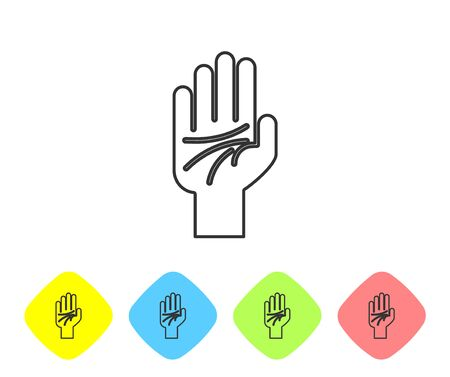Grey line Palmistry of the hand icon isolated on white background. Set icons in color rhombus buttons. Vector Illustration