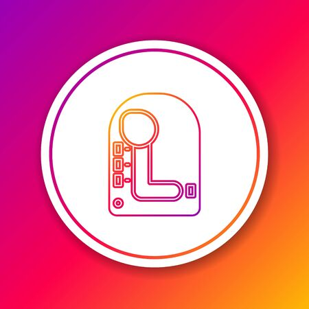 Color line Gear shifter icon isolated on color background. Transmission icon. Circle white button. Vector Illustration