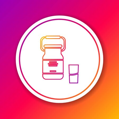 Color line Can container for milk and glass icon isolated on color background. Circle white button. Vector Illustration
