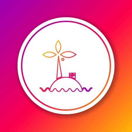Color line Tropical island in ocean icon isolated on color background. Landscape with ocean and palm trees. Travel. Circle white button. Vector Illustration