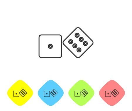 Grey line Game dice icon isolated on white background. Casino gambling. Set icons in color rhombus buttons. Vector Illustration