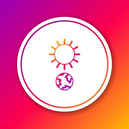 Color line Solstice icon isolated on color background. Circle white button. Vector Illustration Stock Illustratie