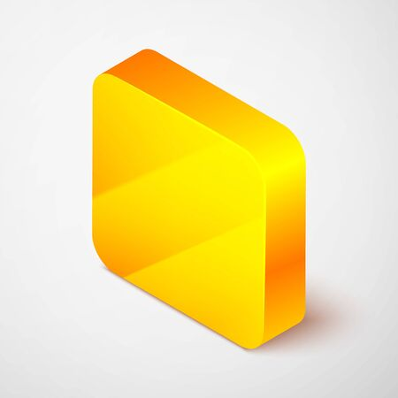 Isometric line Create account screen icon isolated on grey background. Yellow square button. Vector Illustration