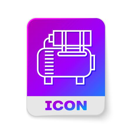 White line Air compressor icon isolated on white background. Rectangle color button. Vector Illustration