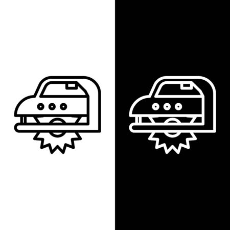 Set line Electric circular saw with steel toothed disc icon isolated on black and white background. Electric hand tool for cutting wood or metal. Vector Illustration