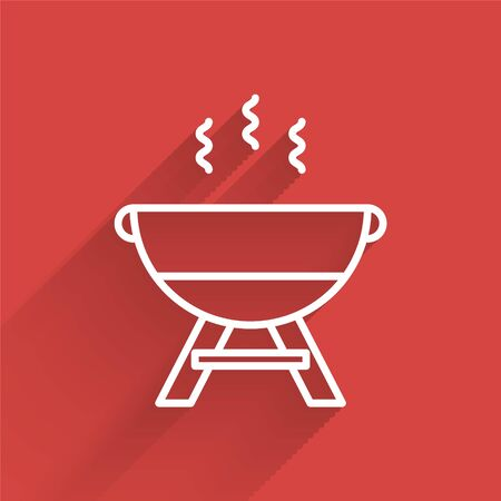 White line Barbecue grill icon isolated with long shadow. BBQ grill party. Vector Illustration