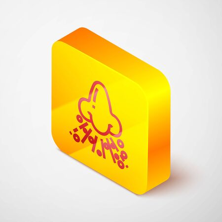 Isometric line Runny nose icon isolated on grey background. Rhinitis symptoms, treatment. Nose and sneezing. Nasal diseases. Yellow square button. Vector Illustration