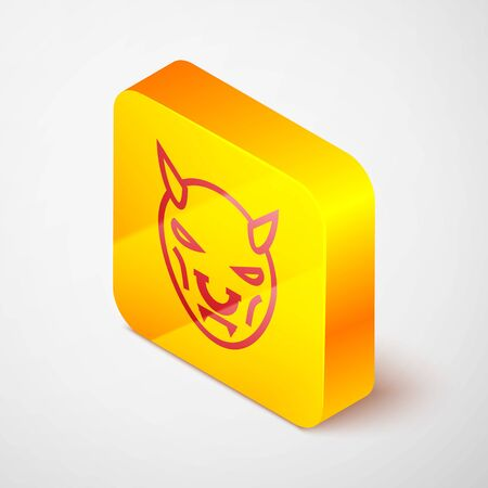 Isometric line Mask of the devil with horns icon isolated on grey background. Yellow square button. Vector Illustration
