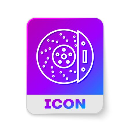 White line Car brake disk with caliper icon isolated on white background. Rectangle color button. Vector Illustration