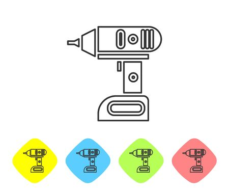 Grey line Electric cordless screwdriver icon isolated on white background. Electric drill machine. Repair tool. Set icons in color rhombus buttons. Vector Illustration 일러스트