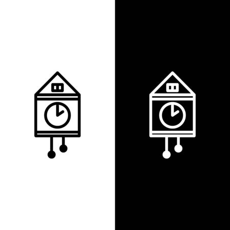 Set line Retro wall watch icon isolated on black and white background. Cuckoo clock sign. Antique pendulum clock. Vector Illustration