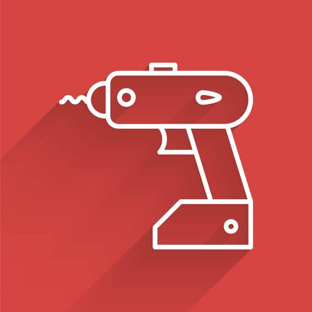White line Electric cordless screwdriver icon isolated with long shadow. Electric drill machine. Repair tool. Vector Illustration
