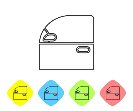 Grey line Car door icon isolated on white background. Set icons in color rhombus buttons. Vector Illustration Vettoriali