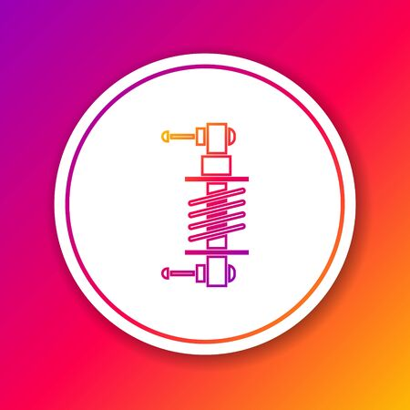 Color line Shock absorber icon isolated on color background. Circle white button. Vector Illustration