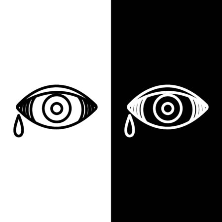 Set line Reddish eye due to viral, bacterial or allergic conjunctivitis icon isolated on black and white background. Vector Illustration