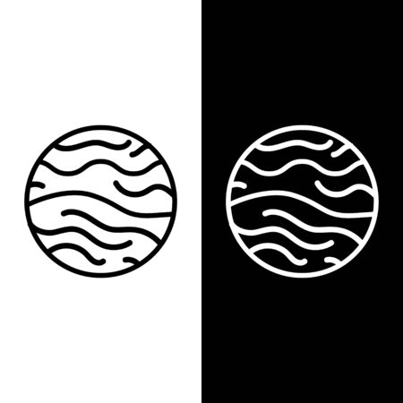 Set line Planet Venus icon isolated on black and white background. Vector Illustration
