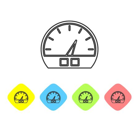 Grey line Speedometer icon isolated on white background. Set icons in color rhombus buttons. Vector Illustration