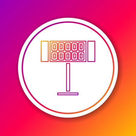 Color line Electric heater icon isolated on color background. Infrared floor heater with remote control. House climate control. Circle white button. Vector Illustration