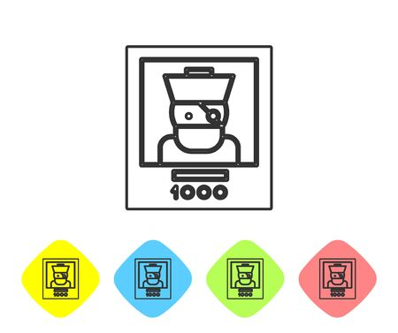 Grey line Wanted poster pirate icon isolated on white background. Reward money. Dead or alive crime outlaw. Set icons in color rhombus buttons. Vector Illustration