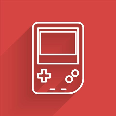 White line Portable video game console icon isolated with long shadow. Gamepad sign. Gaming concept. Vector Illustration