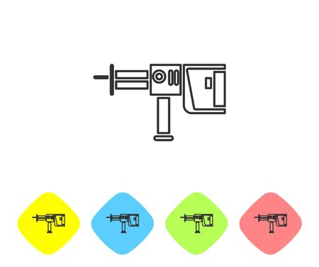 Grey line Electric rotary hammer drill machine icon isolated on white background. Working tool for construction, finishing, repair work. Set icons in color rhombus buttons. Vector Illustration Vector Illustration