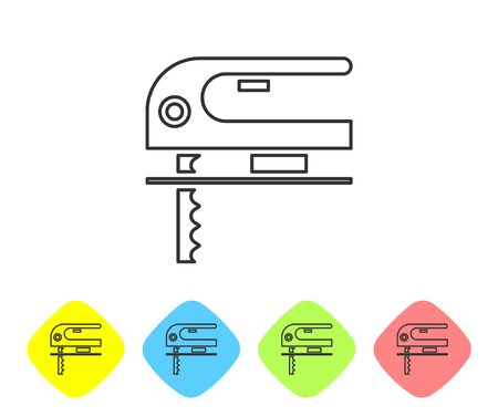Grey line Electric jigsaw with steel sharp blade icon isolated on white background. Power tool for woodwork. Set icons in color rhombus buttons. Vector Illustration