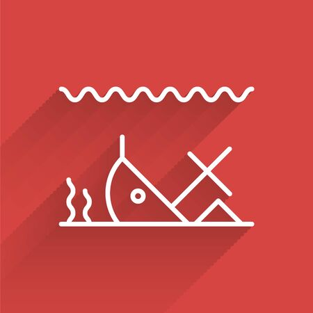 White line Sunken ship at the bottom of the sea icon isolated with long shadow. Vector Illustration
