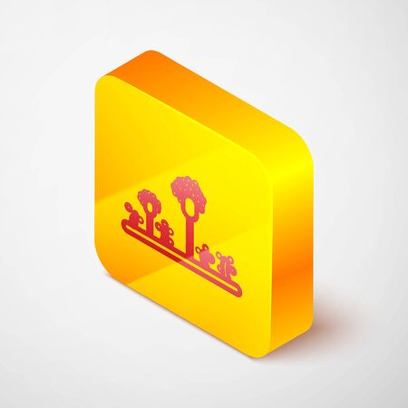 Isometric line Mold icon isolated on grey background. Yellow square button. Vector Illustration