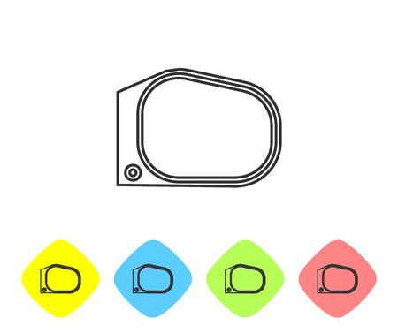 Grey line Car mirror icon isolated on white background. Set icons in color rhombus buttons. Vector Illustration