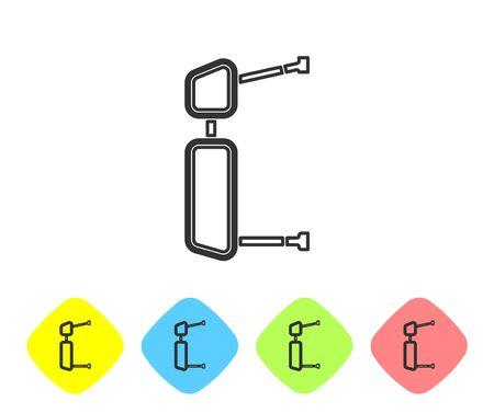 Graue Linie LKW-Seitenspiegelsymbol isoliert auf weißem Hintergrund. Legen Sie Symbole in Farbrautentasten fest. Vektorillustration