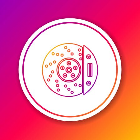 Color line Car brake disk with caliper icon isolated on color background. Circle white button. Vector Illustration Vectores