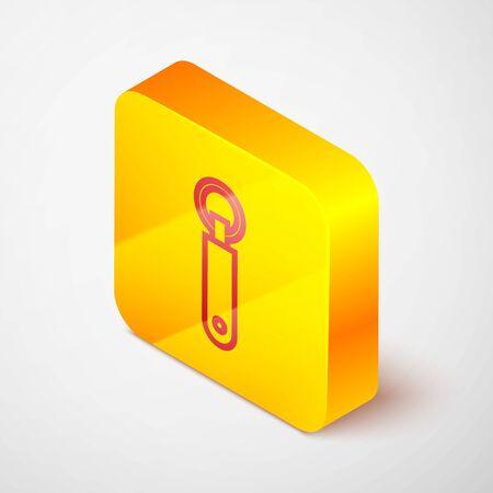 Isometric line Bottle opener icon isolated on grey background. Yellow square button. Vector Illustration Ilustração