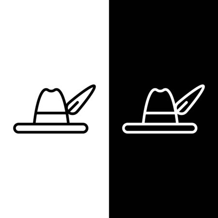 Set line Oktoberfest hat icon isolated on black and white background. Hunter hat with feather. German hat. Vector Illustration