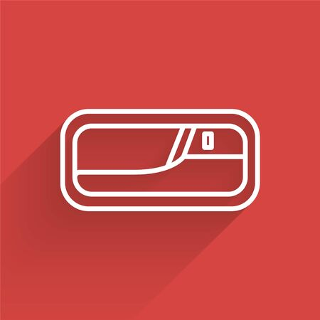 White line Car door handle icon isolated with long shadow. Vector Illustration