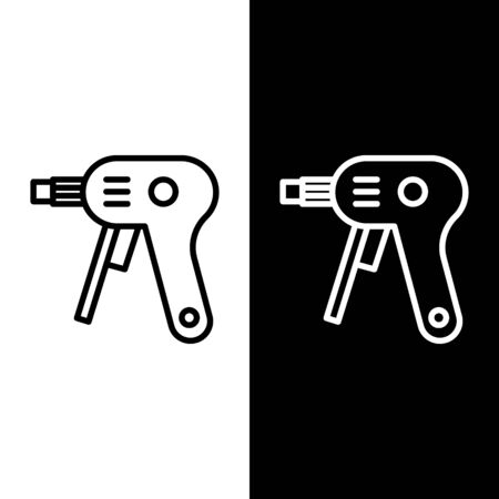 Set line Electric hot glue gun icon isolated on black and white background. Hot pistol glue. Hot repair work appliance silicone. Vector Illustration
