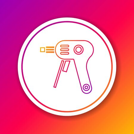 Color line Electric hot glue gun icon isolated on color background. Hot pistol glue. Hot repair work appliance silicone. Circle white button. Vector Illustration