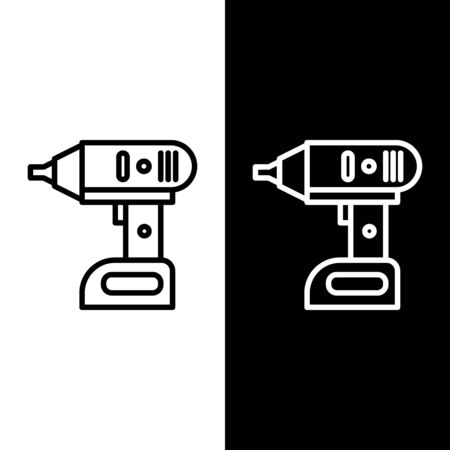 Set line Electric cordless screwdriver icon isolated on black and white background. Electric drill machine. Repair tool. Vector Illustration