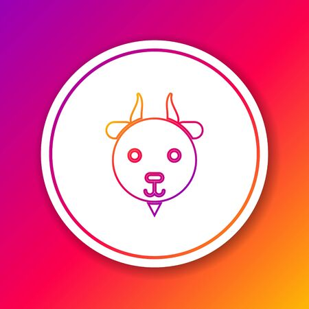 Color line Aries zodiac sign icon isolated on color background. Astrological horoscope collection. Circle white button. Vector Illustration