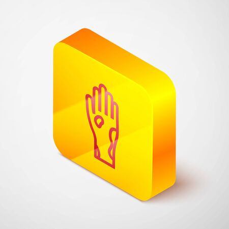 Isometric line Hand with psoriasis or eczema icon isolated on grey background. Concept of human skin response to allergen or chronic body problem. Yellow square button. Vector Illustration