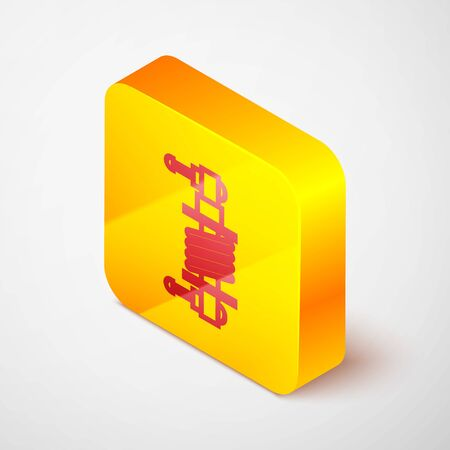 Isometric line Shock absorber icon isolated on grey background. Yellow square button. Vector Illustration