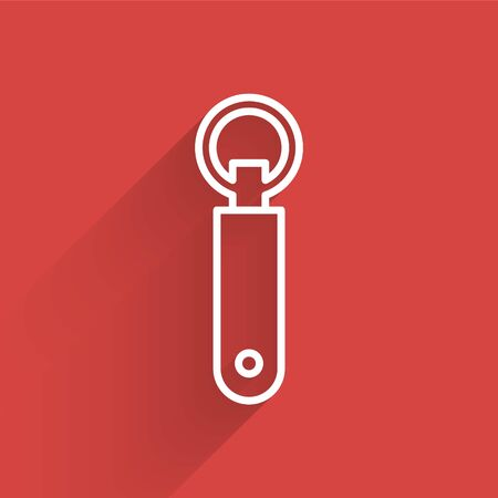 White line Bottle opener icon isolated with long shadow. Vector Illustration