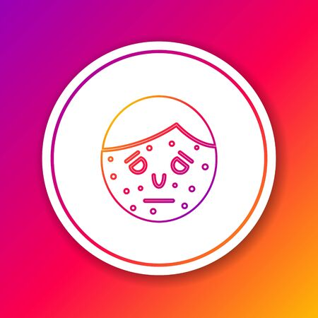 Color line Face with psoriasis or eczema icon isolated on color background. Concept of human skin response to allergen or chronic body problem. Circle white button. Vector Illustration