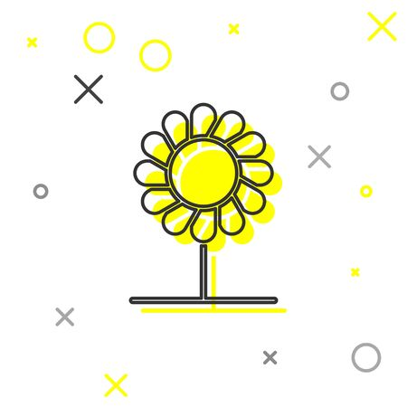 Grey line Flower icon isolated on white background. Vector Illustration