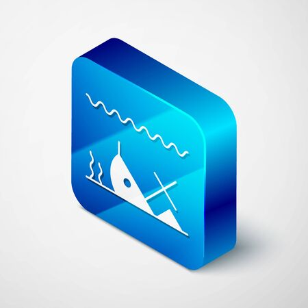 Isometric Sunken ship at the bottom of the sea icon isolated on white background. Blue square button. Vector Illustration