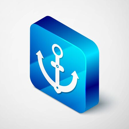 Isometric Anchor icon isolated on white background. Blue square button. Vector Illustration