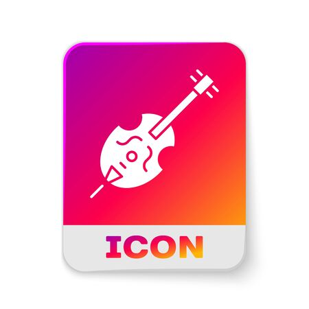 White Violin icon isolated on white background. Musical instrument. Rectangle color button. Vector Illustration