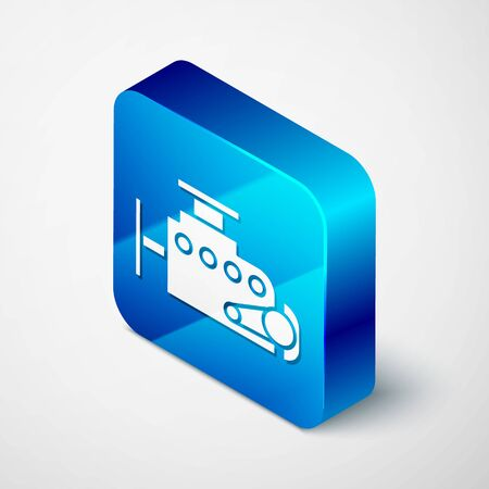 Isometric Car engine icon isolated on white background. Blue square button. Vector Illustration 向量圖像